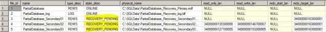 Partial Database Recovery Position